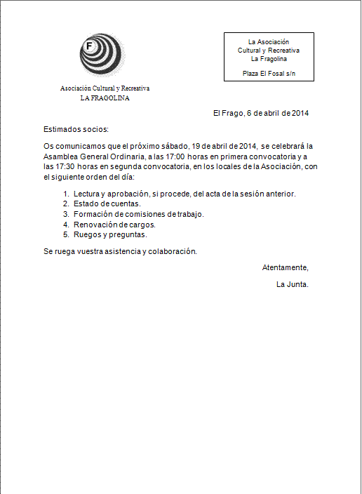 Convocatoria a la Asamblea General