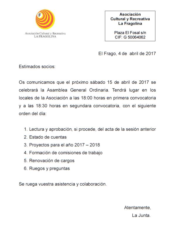 carta asamblea